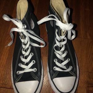 NEVER WORN! Black high top converse